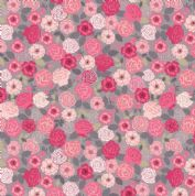 Lewis & Irene Flo's Wildflowers - 5429 - Wild Roses, Pink on Grey - FLO9.1 - Cotton Fabric